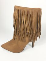 Womens Ladies Tan Faux Suede High Heel Fringe Shoes Ankle Boots Size UK 7 New