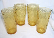 Amber Tumblers Vintage Set of 4 Consolidated Optic Diamonds Mid Century Vtg