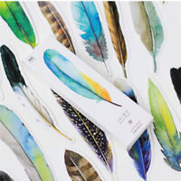 New 30 Pcs/lot Colorful Bookmark Feather Bookmark Paper Gift MMJ UK