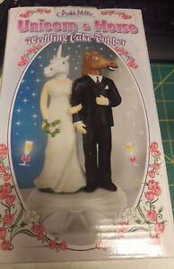 Unicorn & Horse Mask Wedding Cake Topper New In Box ! Great looking couple !