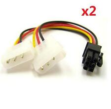 2x Dual Molex 4 pin to 6 pin PCI-E Express converter adapter power cable wire