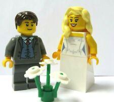 LEGO Minifigure Bride Blonde Wavy Hair Groom Brown Hair Dark Grey Suit Red Tie