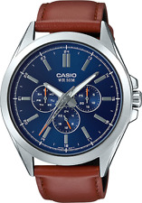 Casio Men's Quartz Blue Chronograph Dial Brown Leather 48mm Watch MTPSW300L-2AV