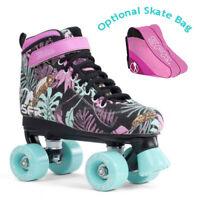SFR Vision II Canvas Quad Roller Skates - Floral - Optional Skate Bag