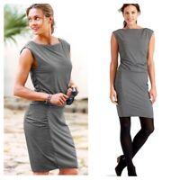 ATHLETA Micro Stripe Westwood Ruched Dress Black Gray Sleeveless size XXS ALK