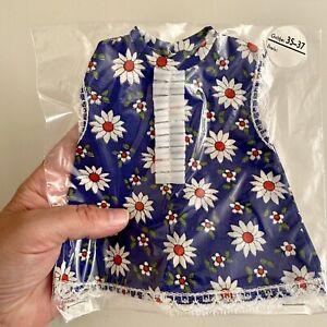 Vintage Kittel-Puppenkleid ALT 70er/80er 17cm lang Blumen Blau OVP Gr.35-37 🎁