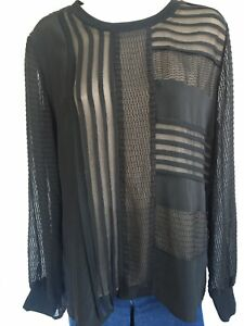 Women's Nanette Lepore Black Silk Sheer High Low Blouse Top Size L