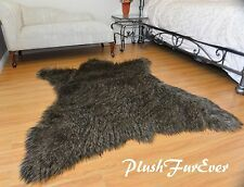 60 x 72 Black Tip Coyote Accents Faux Fur Area Rug Bearskin PlushFurEver Decor