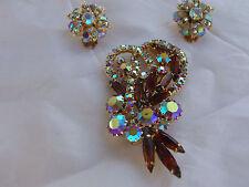 Vintage D&E Juliana Lot Amber AB Rhinestone Feather Brooch Pin Earring Demi Set