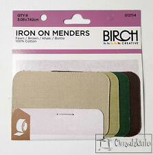 BIRCH - Iron On Menders / Mending Patches - 8 Pack - Repair Clothes / Jeans