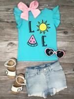 Girls, Toddler Summer Love Flutter Short Sleeve Blue Yellow T-Shirt 2T 3T 4 5 6
