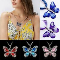 Fashion Crystal Enamel Butterfly Sweater Long Chain Pendant Necklace Women Gift
