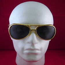 Elvis Gold Glasses Dark Lenses Shades Rock Roll Fancy Dress Party