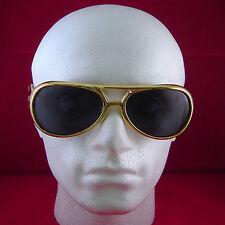 Elvis Gold Glasses Dark Lenses Shades Rock Roll Fancy Dress Party