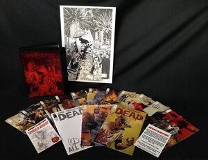 WALKING DEAD #115 10TH ANN BOX SET W/14 SIGNED COVERS BY ADLARD & A3 PRINT