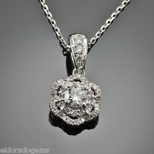 NECKLACE - 0.69 CT SI1-G DIAMOND BY THE YARD SOLITAIRE PENDANT 14K WHITE GOLD 18