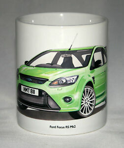 Classic Car Mug. Ford Focus RS Mk2 hand drawn illustration.