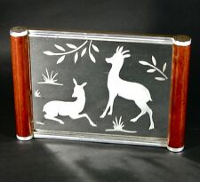 Vintage French Art Deco Mirror Tray with Roe Deer and Doe