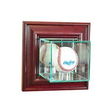 *NEW Wall Mounted Glass Baseball Display Case MLB NCAA UV Black, Cherry colors