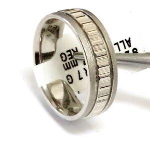 Platinum 18K 14k 10k silver white gold wedding band ring bar design mens 7mm