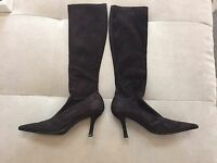 Stuart Weitzman  Brown Suede Stretch Knee High Kitten Heel Boots Size 6