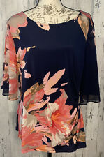 MSK Womens Top Size 1X Blue Floral Party Cocktail Rhinestone Blouse