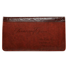 AMAZING GRACE Checkbook Cover Brown Faux Leather