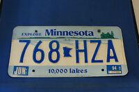 MINNESOTA LICENSE PLATE 10,000 Lakes 768 HZA FREE SHIPPING