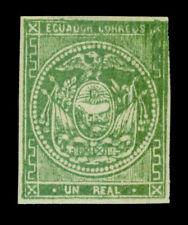 ECUADOR  1865  Coat of Arms  1r green  Scott # 5 mint MH VF