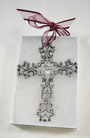 CAMCO Pewter Bless This Graduate Cross Crucifix Burgurdy Ribbon Gift Box