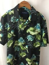 Tommy Bahama Camp Shirt Size Small 70% Silk Adriatic Garden Coal Floral New A36