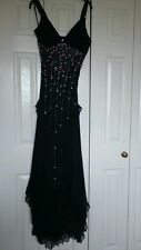 Ladies strappy black maxi dress with coloured beading, size xs - stunning dress