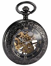 AMPM24 Steampunk Skeleton Mechanical Copper Fob Retro Pendant Pocket Watch + ...