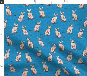 Blue Cat Cats Sphinx Sphynx Sphynx Cat Hairless Spoonflower Fabric by the Yard
