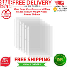 Clear Page Sheet Protectors 3 Ring Binder Medium Weight Plastic Sleeves 50 Pack
