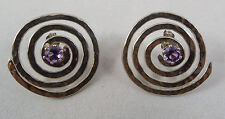 purple amethyst earrings circular swirl design Pair of sterling silver 925 &