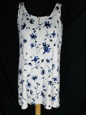 Logo Lori Goldstein White Knit Tank Top Tunic M BLue Floral Design