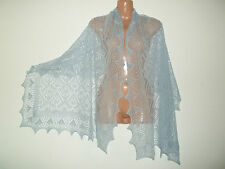 Stunning 100% pure cashmere lace shawl / scarf.  col. SKY BLUE