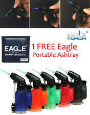 5 Pack 45 Degree Angle Jet Flame Torch Lighter Refillable + 1 FREE Eagle Ashtray