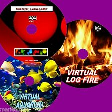 VIRTUAL FISH TANK LOG FIRE & LAVA LAMP 3 SOOTHING DVDs FOR FLAT SCREEN TVs NEW