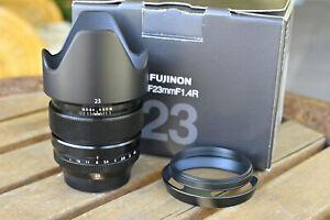 Fujifilm XF 23mm f/1.4 R Lens in box with 2 hoods