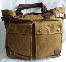 ✔ Belstaff Tasche Canvas/Leder Pinner Tote Man Bag Khaki