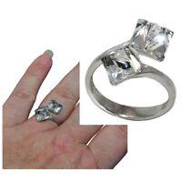 Bague en argent massif 925 toi et moi cube de cristal blanc T 52 bijou ring