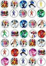 35 x Power Rangers Edible Cup Cake Fairy Bun Toppers Party Premium Wafer