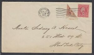 US Sc 506 - 1919 Diagonal BISECT on cover to New York, w/ APS cert