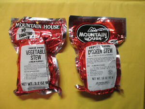 2 CAMPING MREs MOUNTAIN HOUSE FREEZE DRIED CHICKEN STEW + VEGETABLE STEW