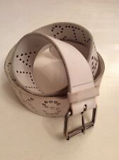 "ALL SAINTS WHITE LEATHER & SILVER ""ALL SAINTS ROCKS"" STUDDED TRIM BELT SIZE M"