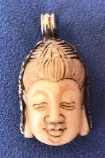 Tibetan-Style Pendant Silver Bone Carved Buddha Face Auspicious Symbol