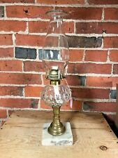"""Antique Oil Lamp Thumbprint Glass Clear Uncolored Marble Base w/ Chimney 16"""""""
