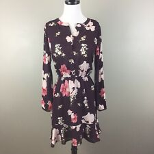 Cupcakes and Cashmere Womens Floral Chiffon Shirt Dress Size S Ruffle Maroon
